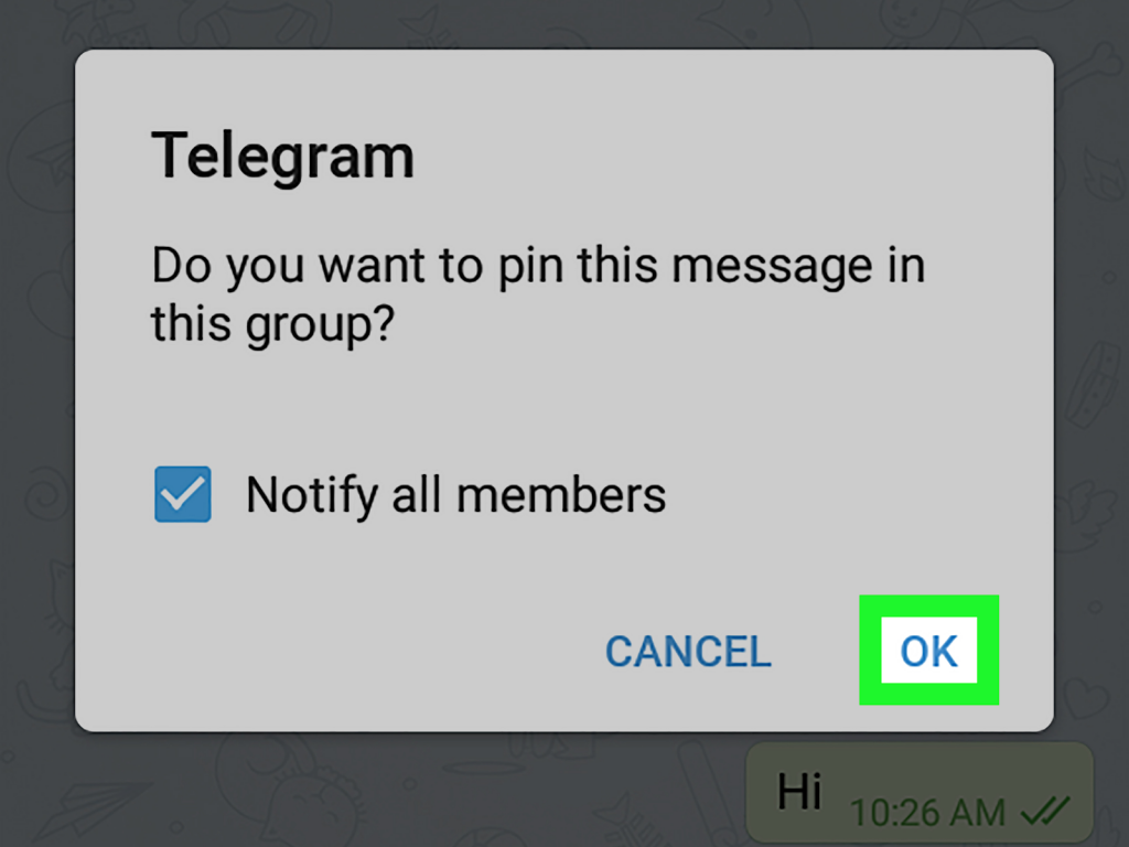 pinning of messages on telegram
