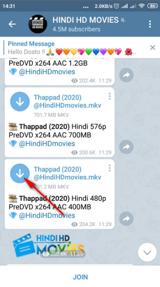 How to download the movies from Telegram