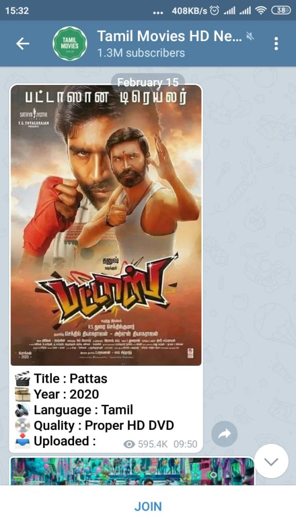 Download Tamil movies from Telegram